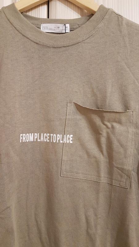 Стильная широкая футболка zara цвета хаки - Фото 5