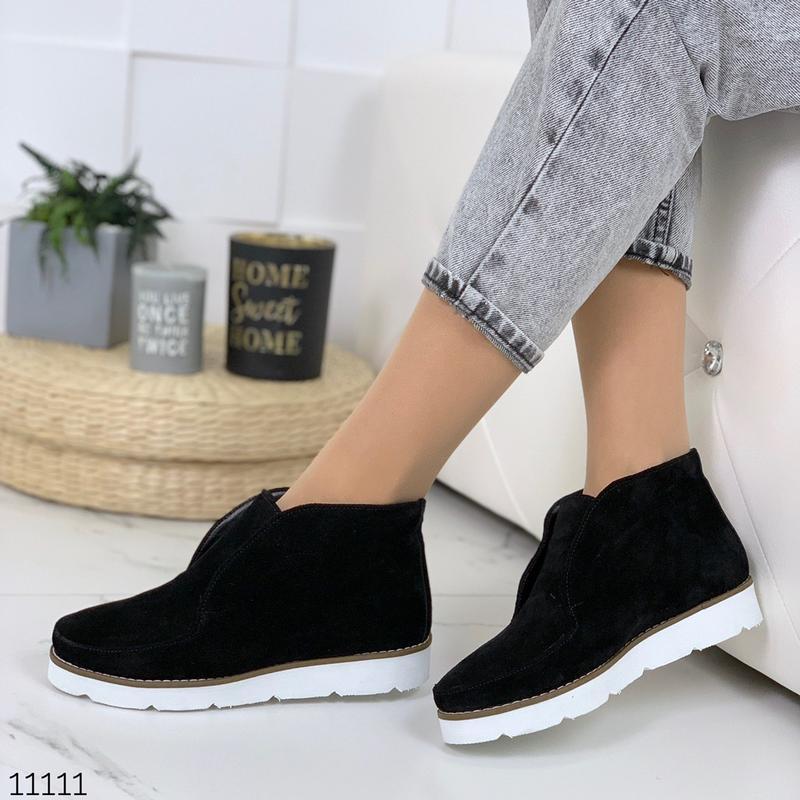 Стильные ботиночки деми из натуральной замши - Фото 4