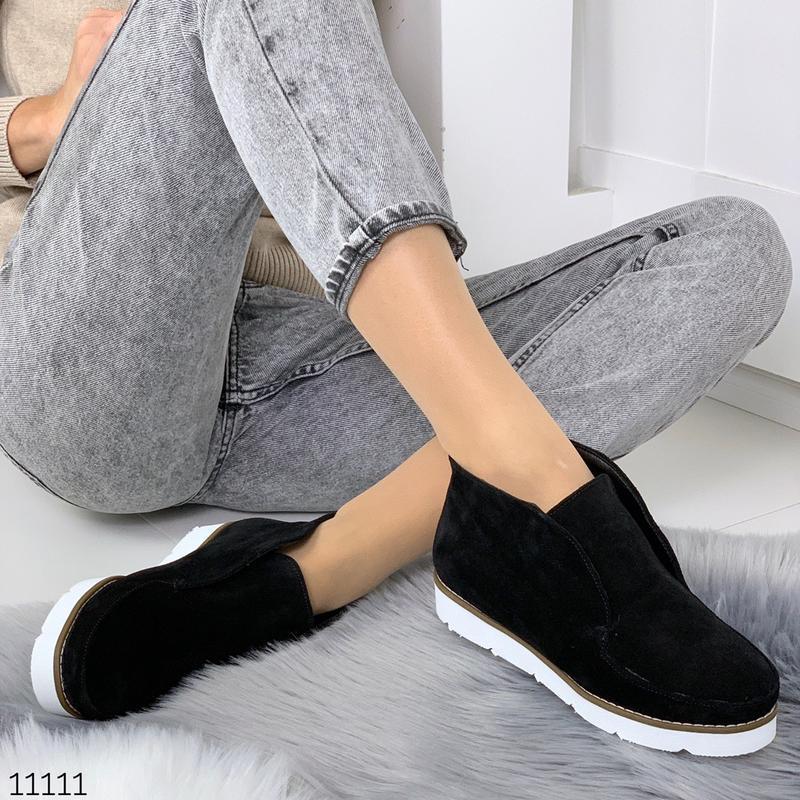 Стильные ботиночки деми из натуральной замши - Фото 7