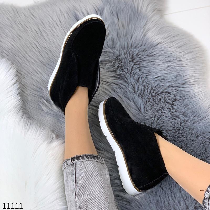 Стильные ботиночки деми из натуральной замши - Фото 8
