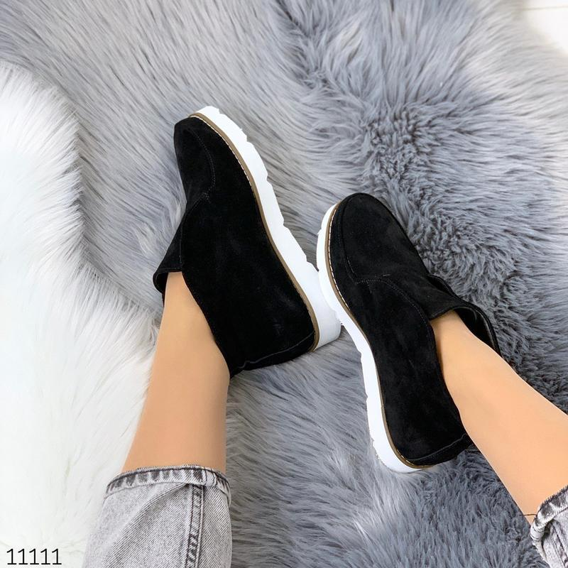Стильные ботиночки деми из натуральной замши - Фото 9