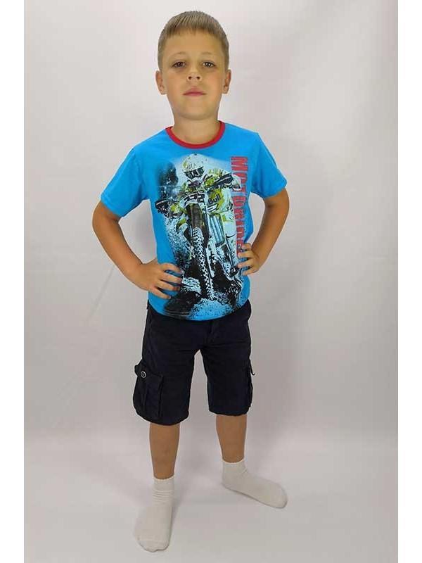 Футболка для мальчика моторайдер голубая