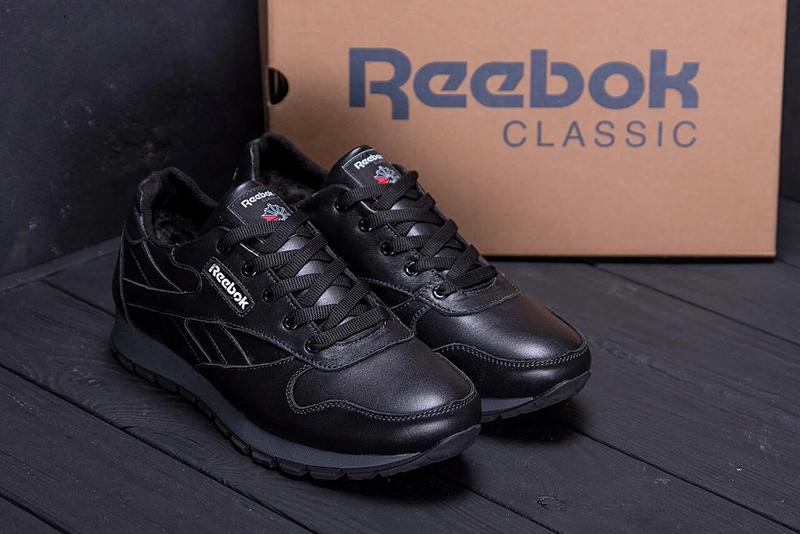 Мужские зимние кроссовки кожаные Reebok Classic Black - Фото 4