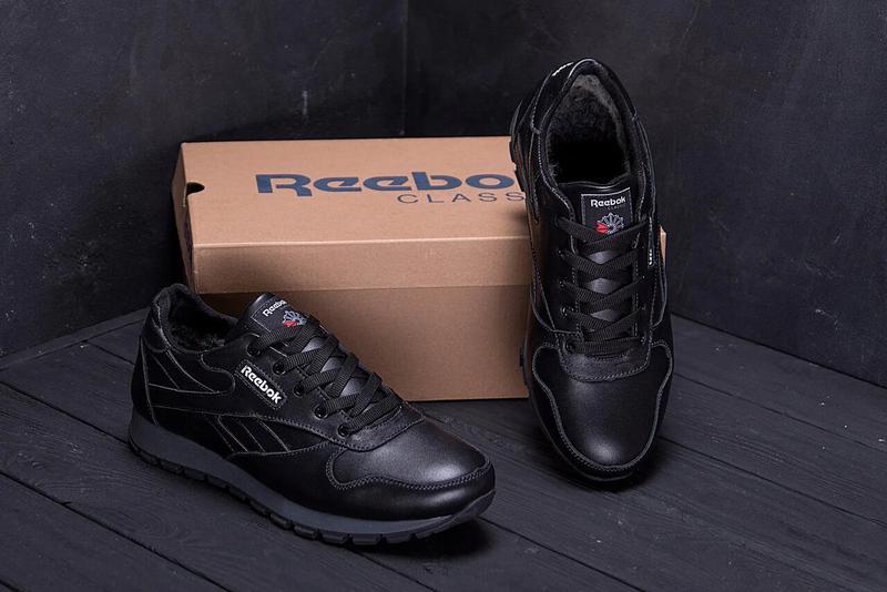 Мужские зимние кроссовки кожаные Reebok Classic Black - Фото 3