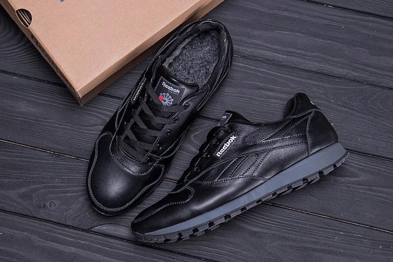 Мужские зимние кроссовки кожаные Reebok Classic Black - Фото 2
