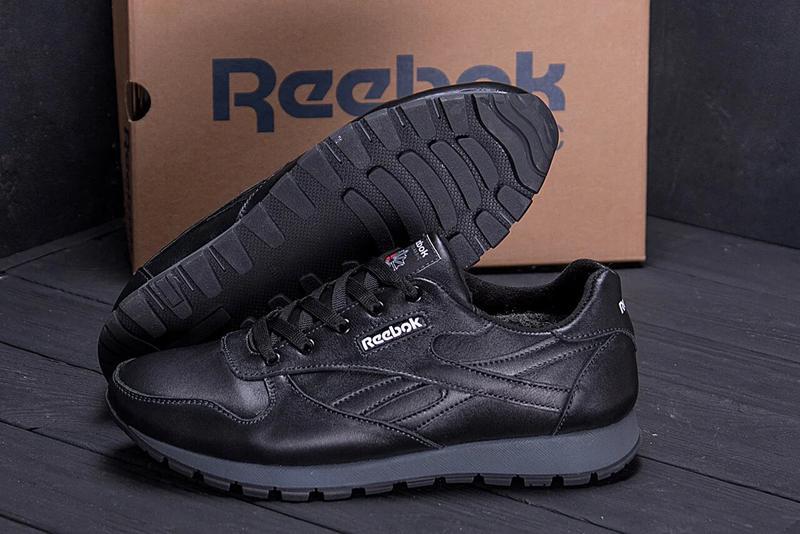Мужские зимние кроссовки кожаные Reebok Classic Black