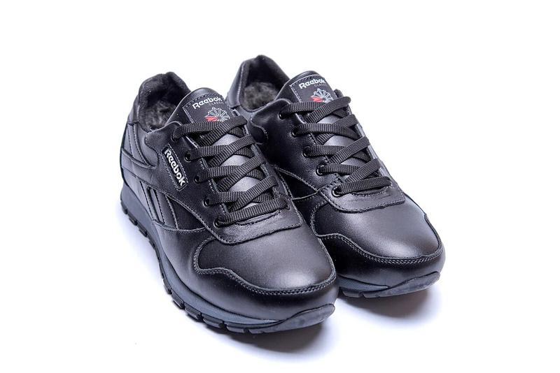 Мужские зимние кроссовки кожаные Reebok Classic Black - Фото 7