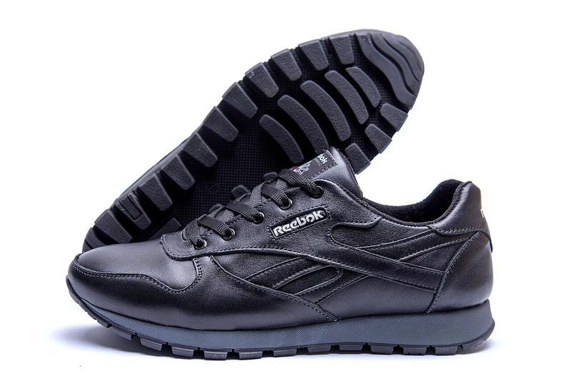 Мужские зимние кроссовки кожаные Reebok Classic Black - Фото 6