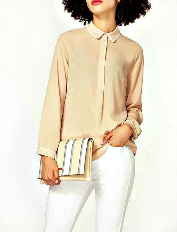 Кремовая матовая блуза р.18 - Фото 2