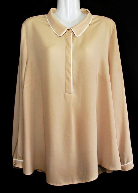Кремовая матовая блуза р.18 - Фото 4