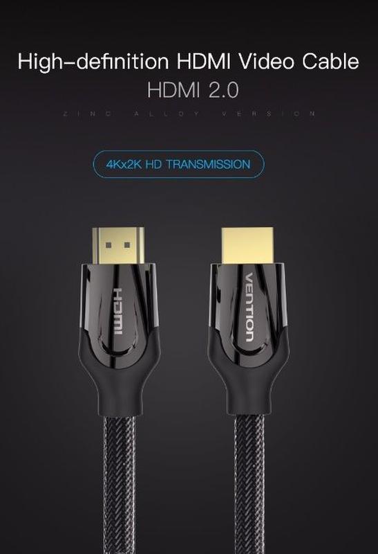 Оригинальный прочный Vention HDMI 2.0 кабель с 4K/60 Гц, 3D, ARC