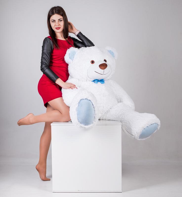 Большая мягкая игрушка мишка Yarokuz Билли 150 см Белый - Фото 3