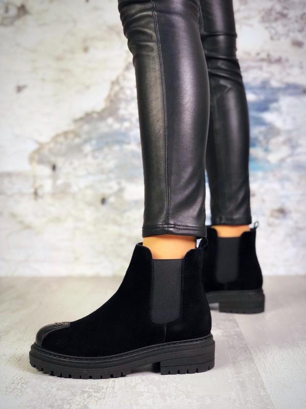 Натуральная замша крутые замшевые осенние ботинки на грубой по...