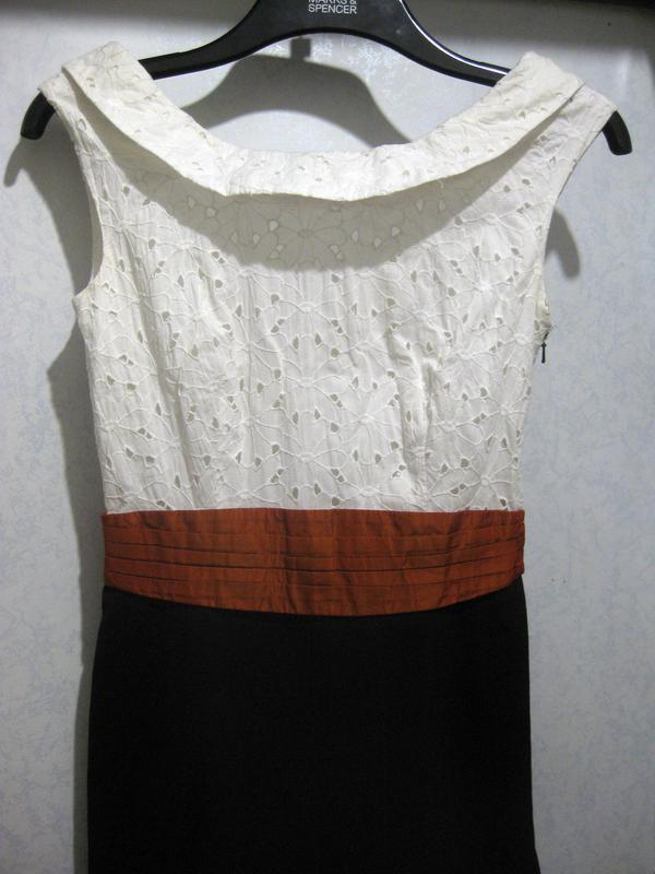 Платье сарафан karen millen комбинированное белое чёрное котто...