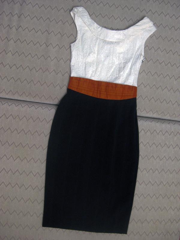 Платье сарафан karen millen комбинированное белое чёрное котто... - Фото 2