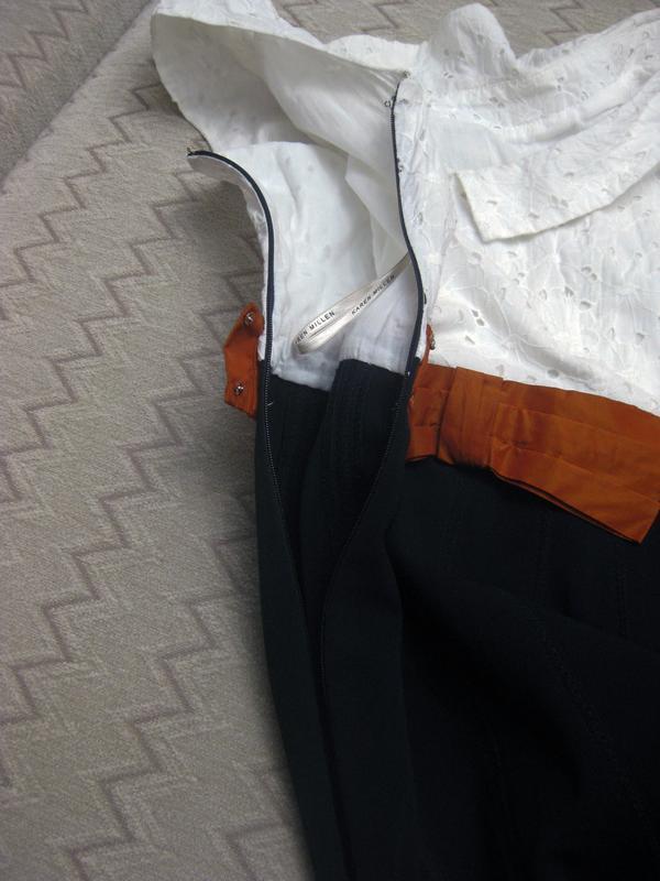 Платье сарафан karen millen комбинированное белое чёрное котто... - Фото 7