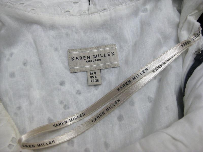 Платье сарафан karen millen комбинированное белое чёрное котто... - Фото 9