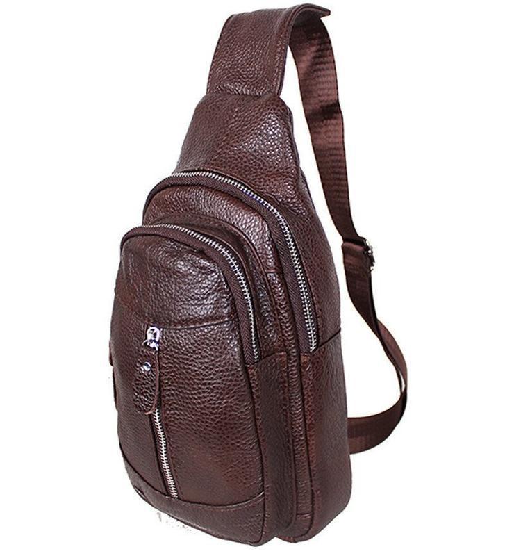 Кожаная мужская сумка коричневая на плечо рюкзак 31х18 кд318 b...