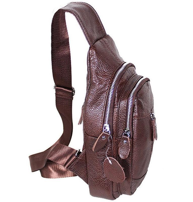 Кожаная мужская сумка коричневая на плечо рюкзак 31х18 кд318 b... - Фото 2