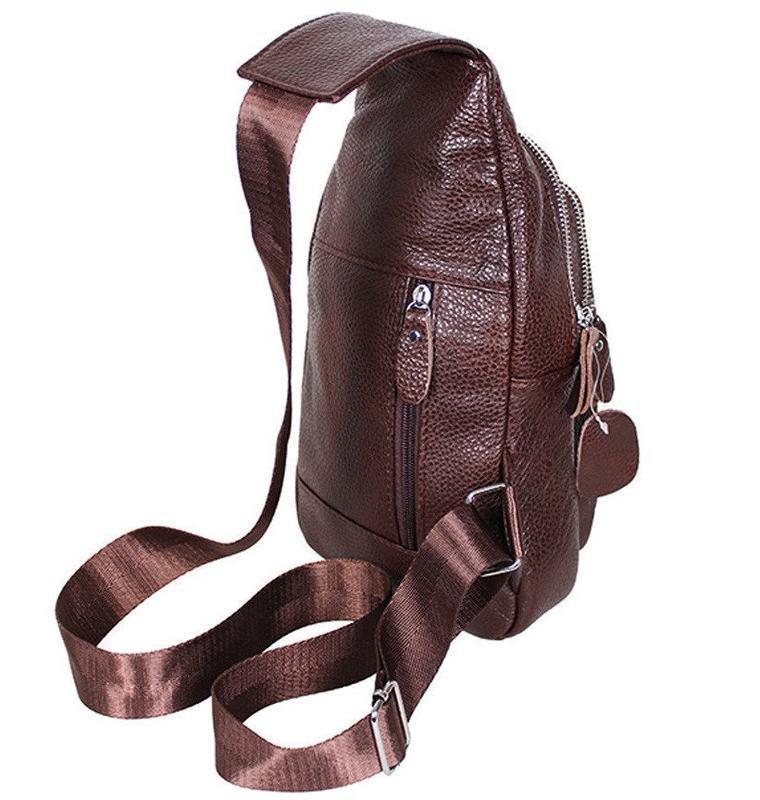 Кожаная мужская сумка коричневая на плечо рюкзак 31х18 кд318 b... - Фото 3