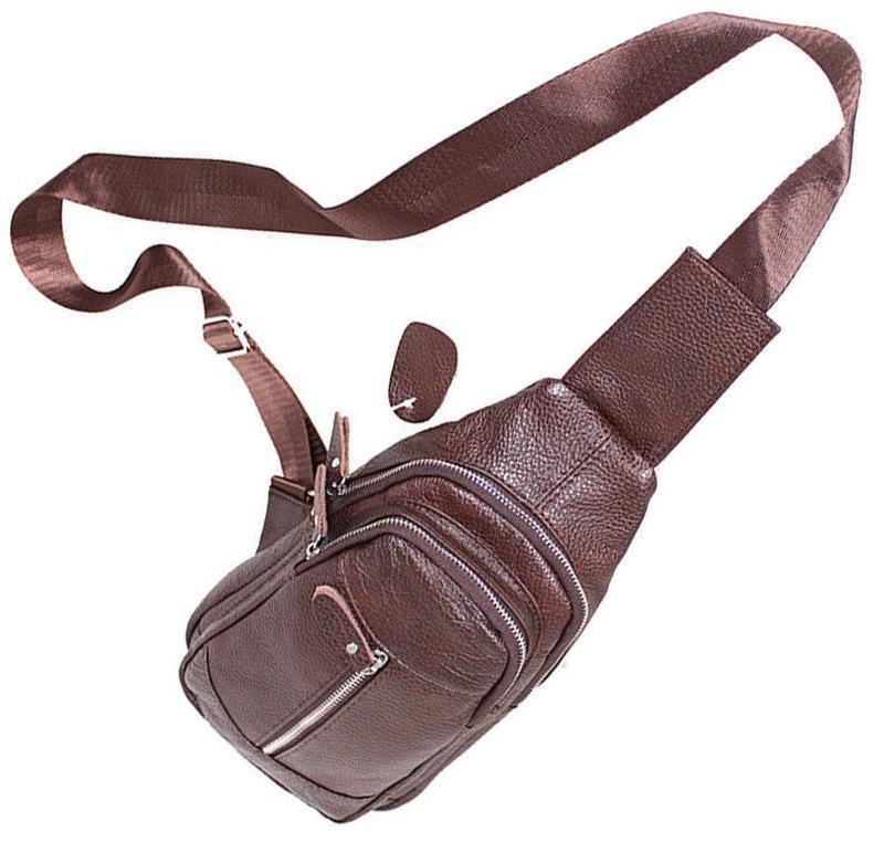 Кожаная мужская сумка коричневая на плечо рюкзак 31х18 кд318 b... - Фото 4