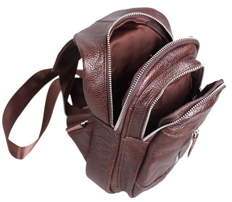 Кожаная мужская сумка коричневая на плечо рюкзак 31х18 кд318 b... - Фото 5