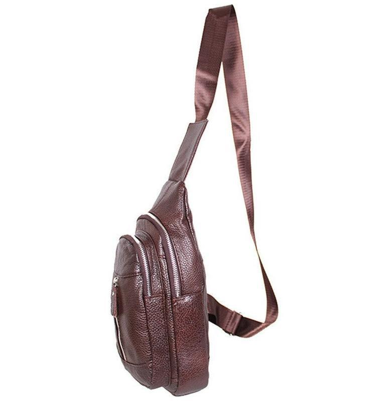 Кожаная мужская сумка коричневая на плечо рюкзак 31х18 кд318 b... - Фото 6