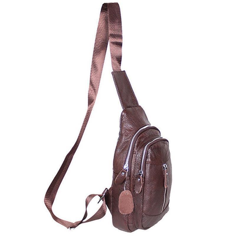 Кожаная мужская сумка коричневая на плечо рюкзак 31х18 кд318 b... - Фото 7