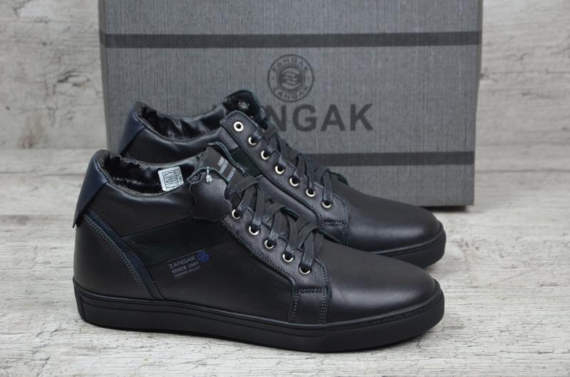 Натуральная кожа мужские зимние кожаные ботинки высокие кеды н...