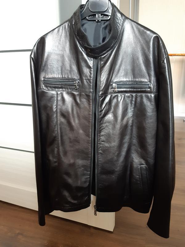 Кожаная итальянская куртка h&m