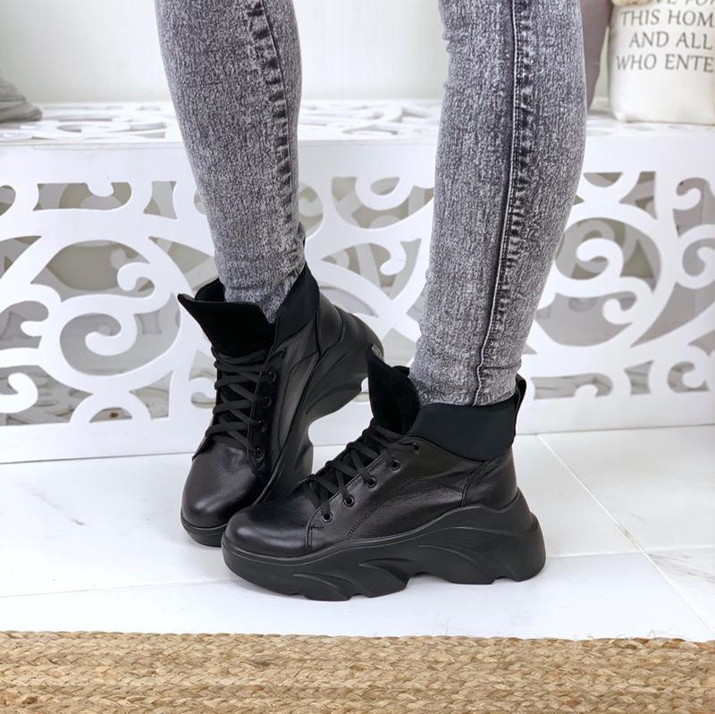 Натуральная кожа осенние кожаные ботинки на шнурках укроссовки