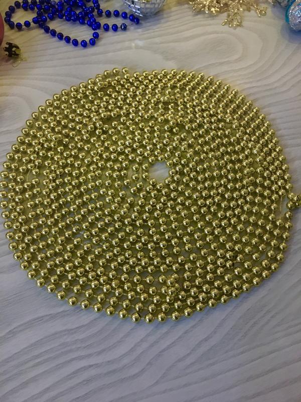 Новогодние бусы на елку ёлку гирлянда декор золотые бусы 7 метров