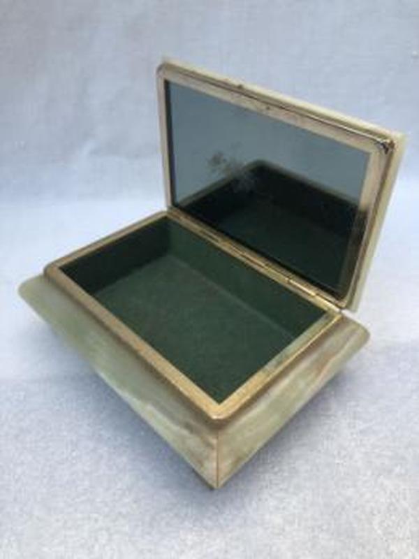 Скринька шкатулка, матеріал онікс, обрамлення бронза, Італія