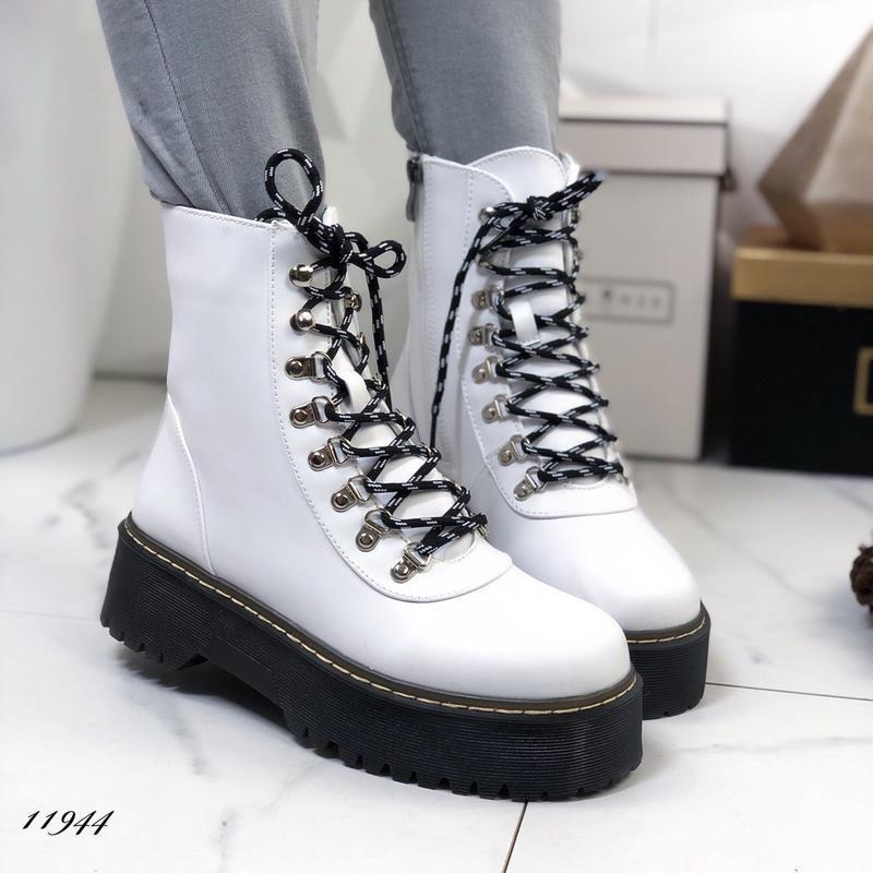 Стильные белые ботиночки новинка - Фото 3