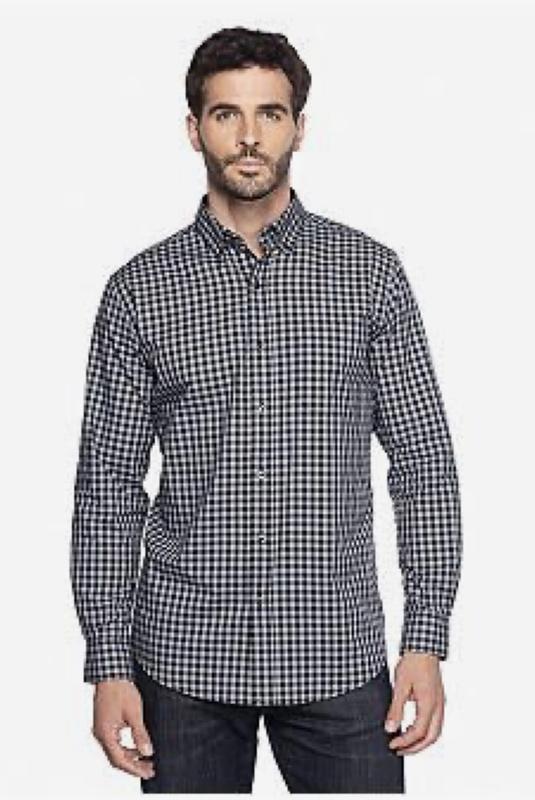 Мужская рубашка в черно белую мелкую клетку с длинным рукавом