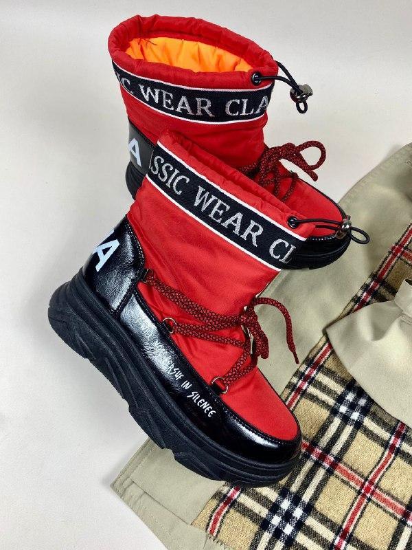 Дутики, луноходы, зимние сапоги, ботинки, черные, красные,очен...