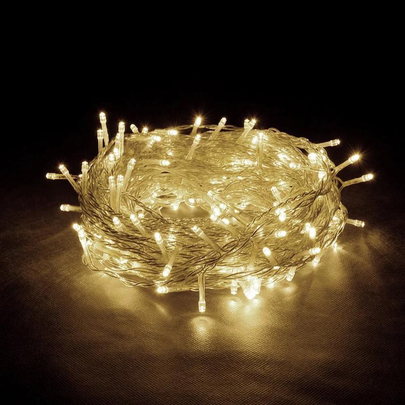 Белая гирлянда 200 лампочек 8 метров (золотой тёплый свет)