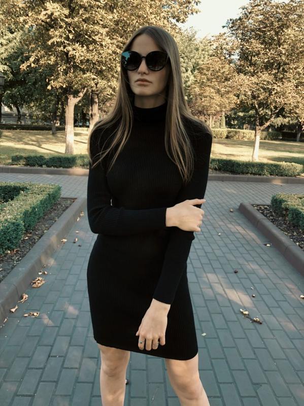 Гольф черный, платье гольф, платье резинка, платье рубчик