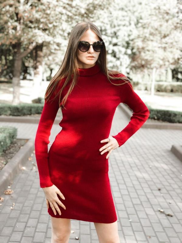 Платье гольф, платье рубчик, платье красное