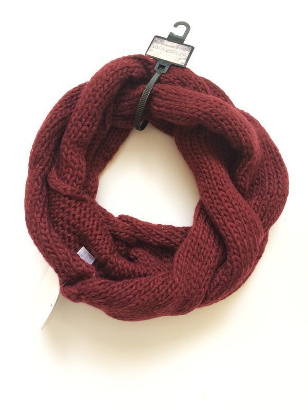 Бордовый шарф, хомут c&a, новый, теплый