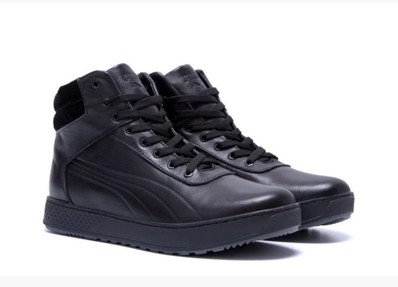 Мужские зимние кожаные кроссовки Puma SUEDE Black leather - Фото 5