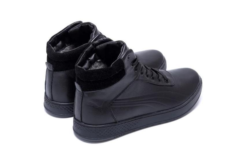 Мужские зимние кожаные кроссовки Puma SUEDE Black leather - Фото 7