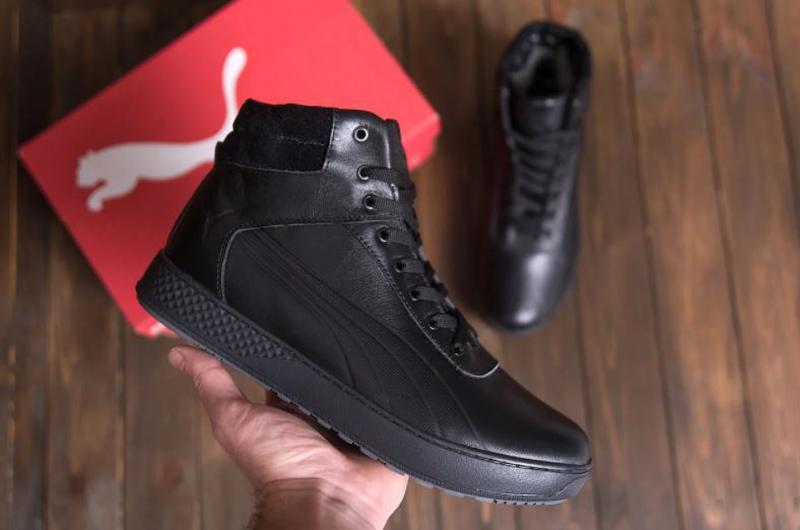 Мужские зимние кожаные кроссовки Puma SUEDE Black leather - Фото 2