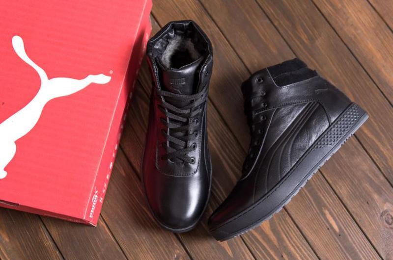 Мужские зимние кожаные кроссовки Puma SUEDE Black leather - Фото 3