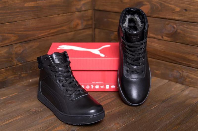 Мужские зимние кожаные кроссовки Puma SUEDE Black leather - Фото 4