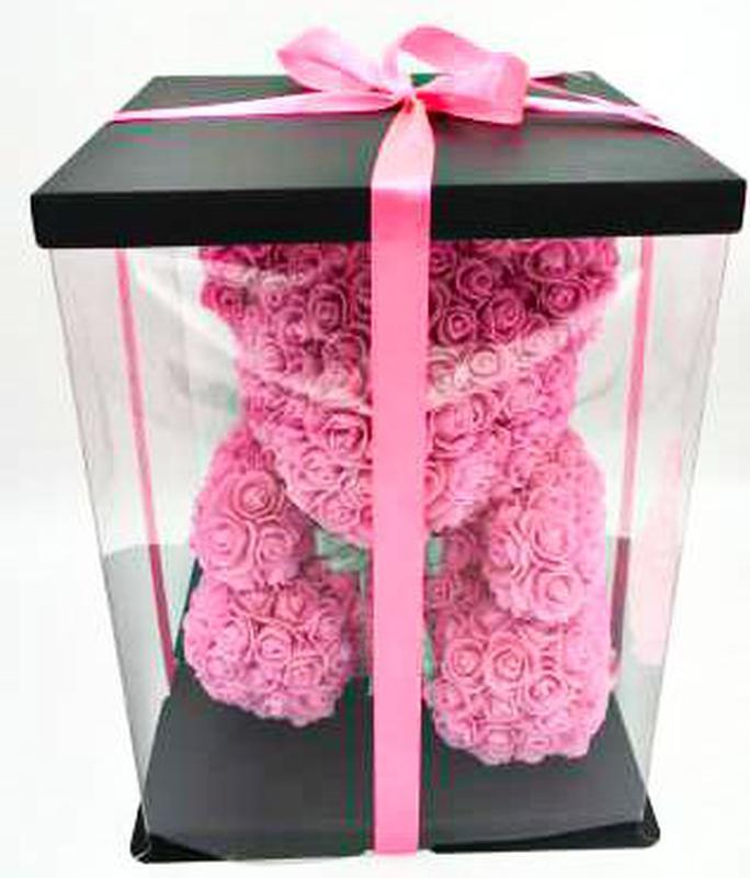 Мишка из розовых 3D роз 25 см в подарочной упаковке медведь Тедди