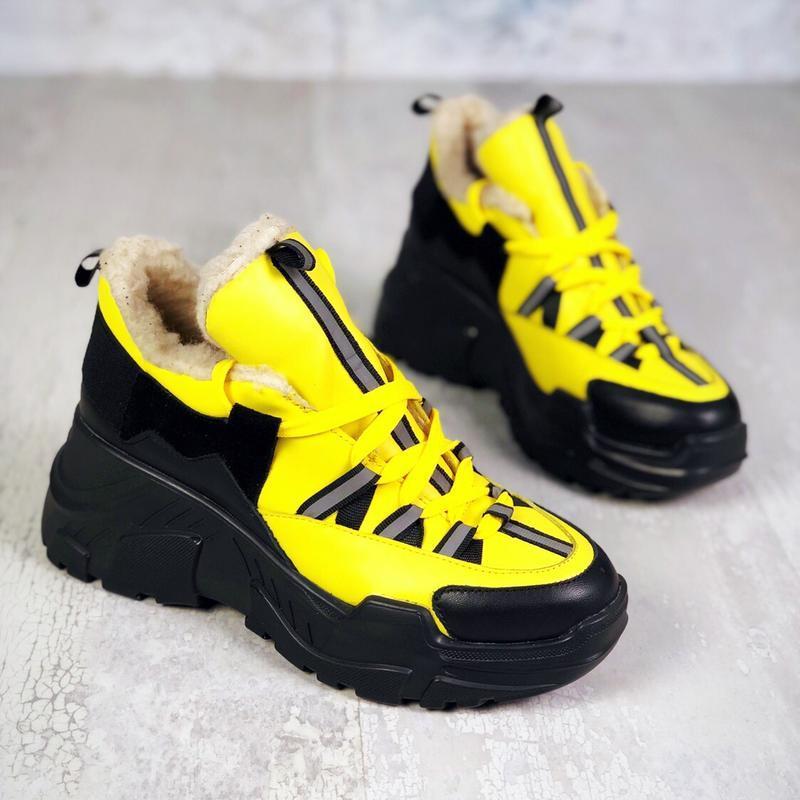 Натуральная кожа зимние кожаные кроссовки на меху на массивной...