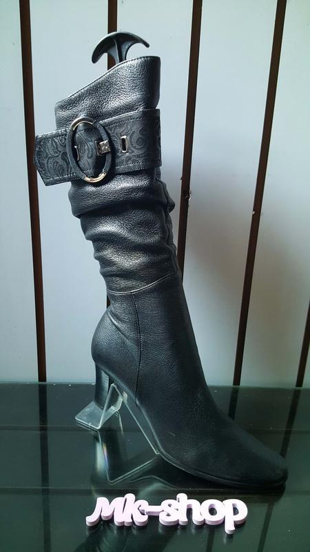 Женские кожаные сапоги фирмы blue tempt 003, 39размер - Фото 2