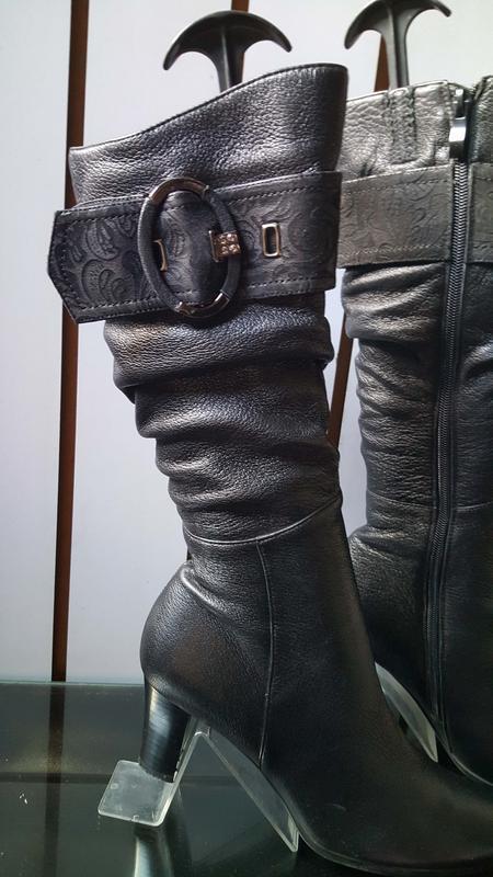 Женские кожаные сапоги фирмы blue tempt 003, 39размер - Фото 3