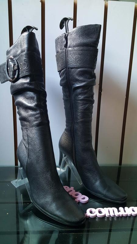 Женские кожаные сапоги фирмы blue tempt 003, 39размер - Фото 5